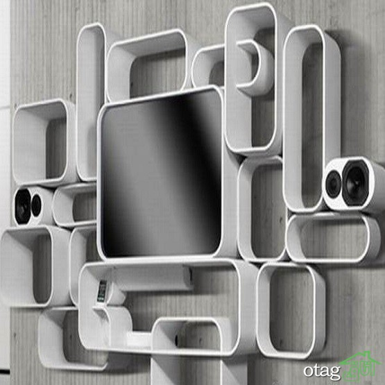 43 مدل عکس میز و شلف دیواری تلویزیون با چوب و ام دی اف [سال 2019]