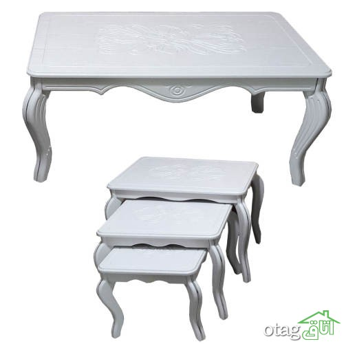 لیست قیمت خرید میز جلو مبلی [ 43 مدل پر فروش ] چوبی ، MDF ، شیشه ای