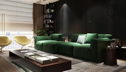 طراحی و تزیین دکوراسیون خانه مجردی با تم روشن و تیره