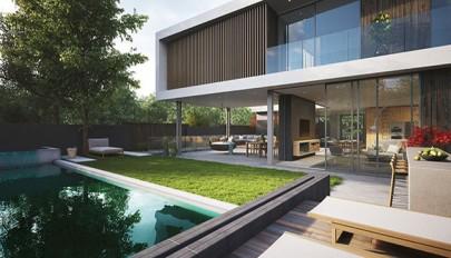 معماری مدرن ویلا با حیاط سرسبز و بزرگ و حریم خصوصی مناسب