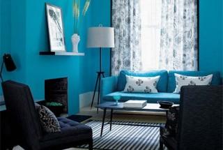 رنگ آبی در دکوراسیون داخلی منزل و اتاق نشیمن