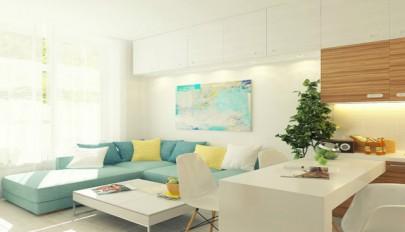 دکوراسیون آپارتمان کوچک 29 متری با رنگ های شاد و فضایی دلباز