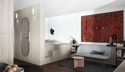 چیدمان و طراحی داخلی آپارتمان زیر 60 متر به روشی خلاقانه
