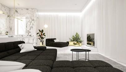 رنگ سفید در خانه با چیدمانی تماما سفید و خنثی در دکوراسیون