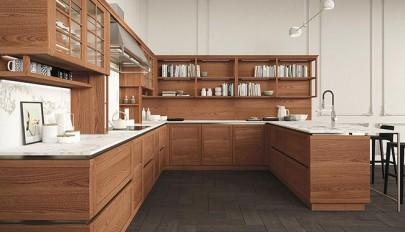دکوراسیون آشپزخانه فوق العاده شیک با کابینت چوبی و شیشه ای